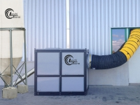 Komplettsystem mit Pelletsilo, Warmluftheizung und Warmluftschlauch.mit-silo1